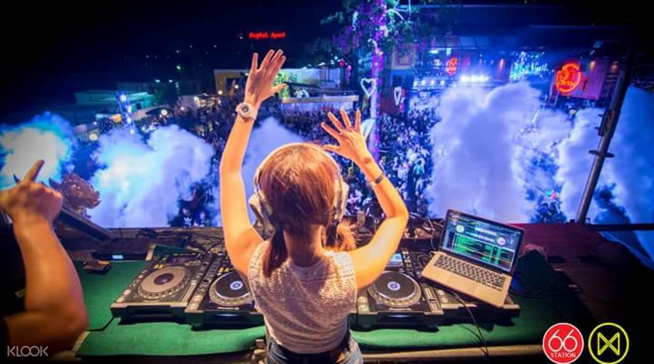 A dj partying in Bangkok's Songkran festival