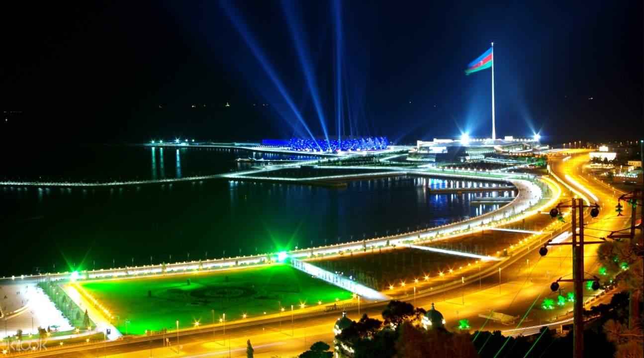 Baku's National Flag Square at night