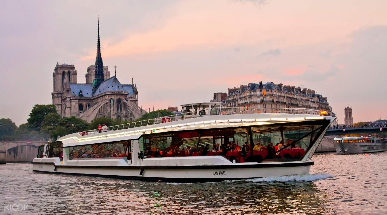 a cruise boat on the Seine River