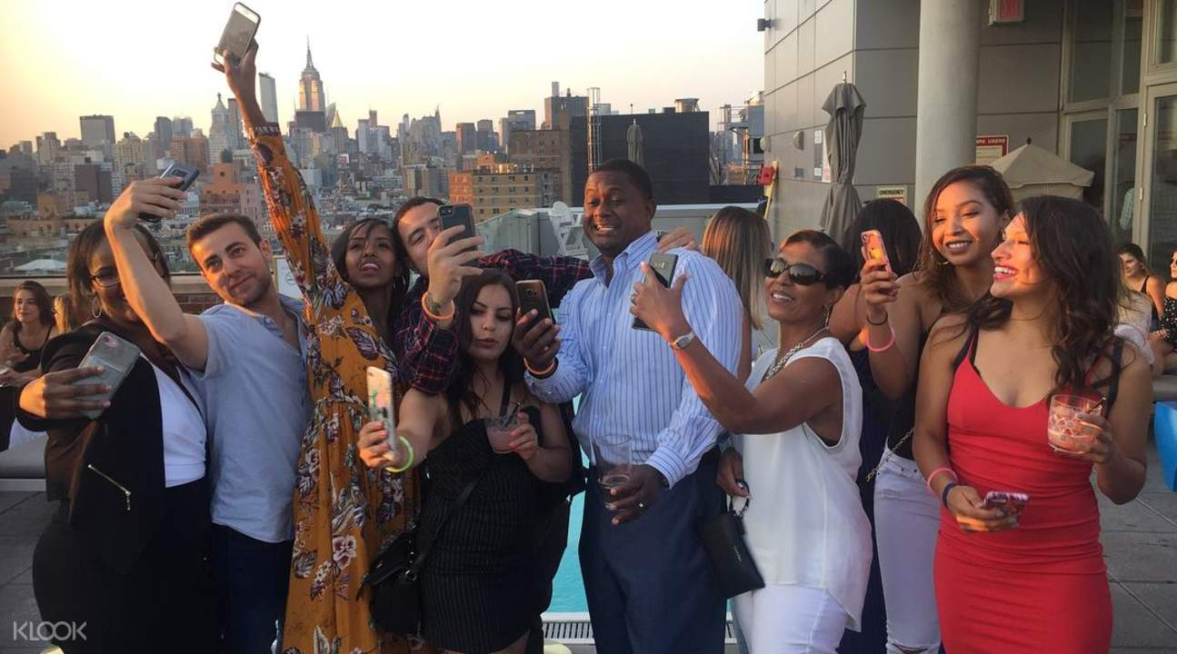 Rooftop Lounge with people taking selfies