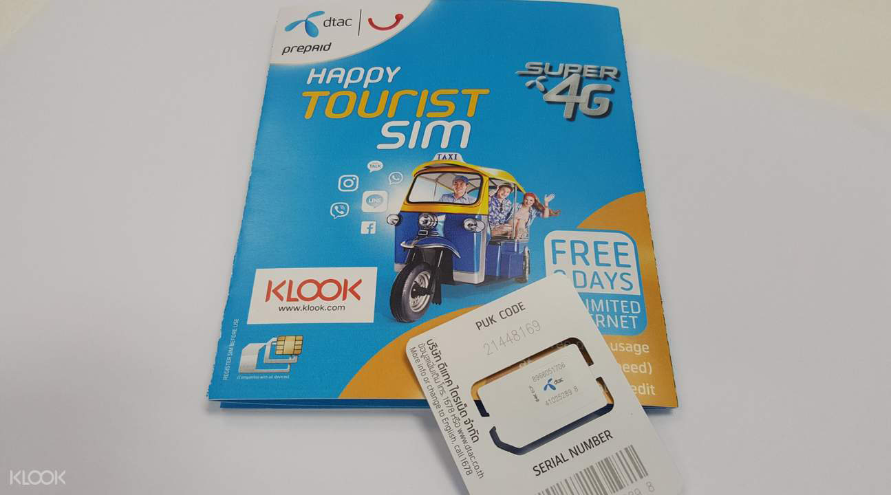3G/4G SIM Card (Nhận ở sân bay KBV) ở Thái Lan