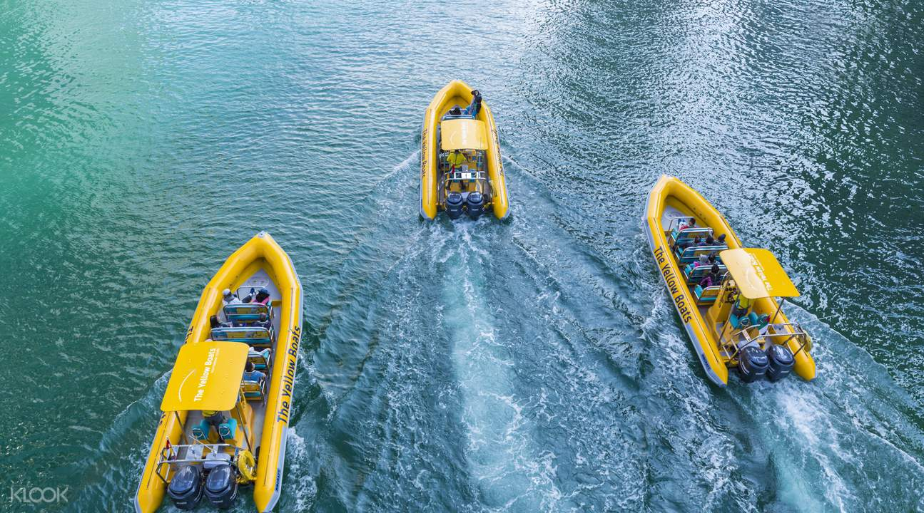 Enjoy a relaxing trip on board a yellow speedboat