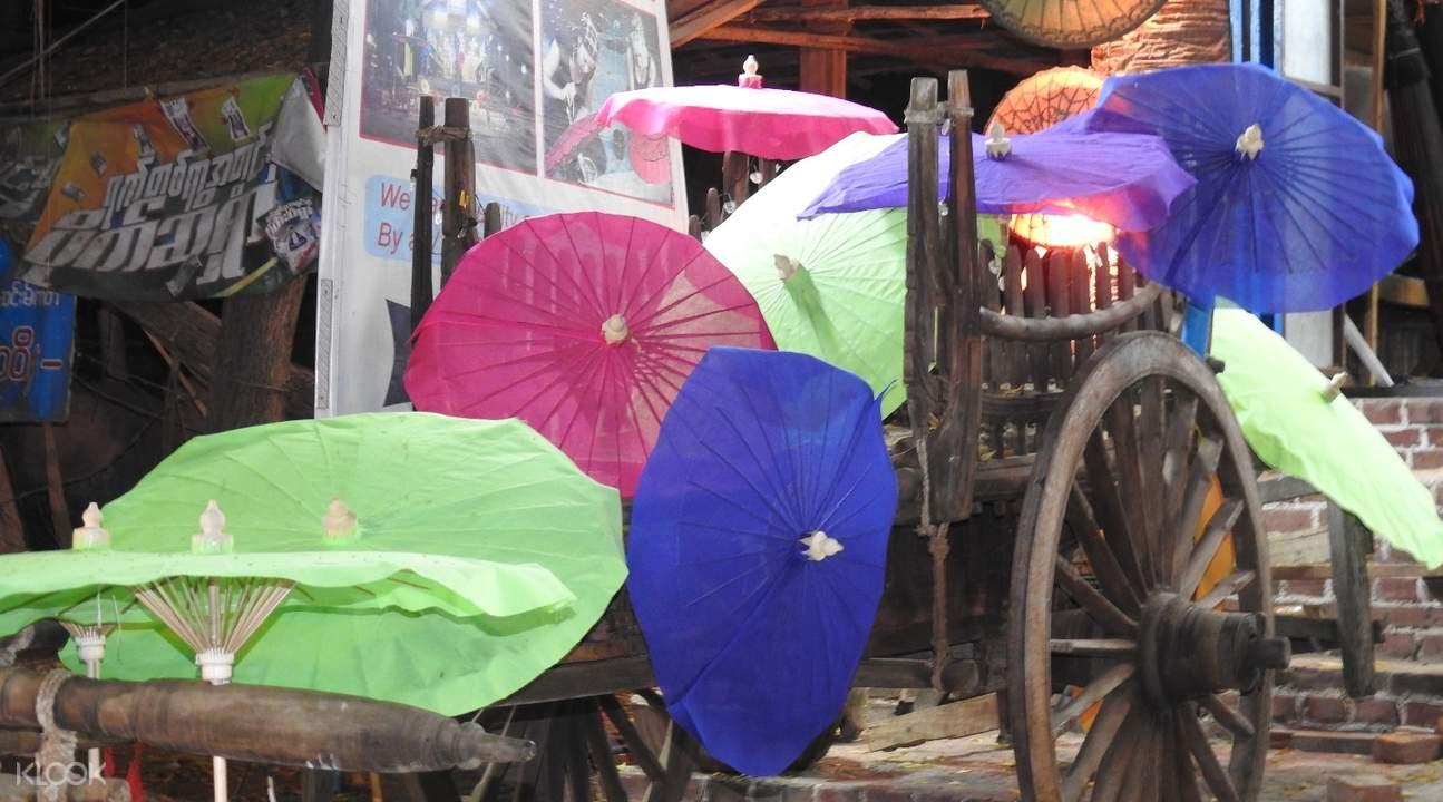 mahamuni pagoda handcrafted umbrellas mandalay myanmar