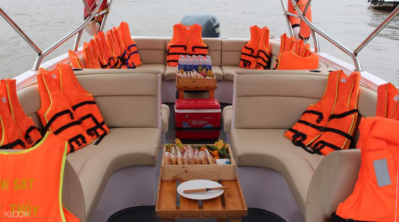 Delight in a tasty breakfast and some fruits served inside the speedboat
