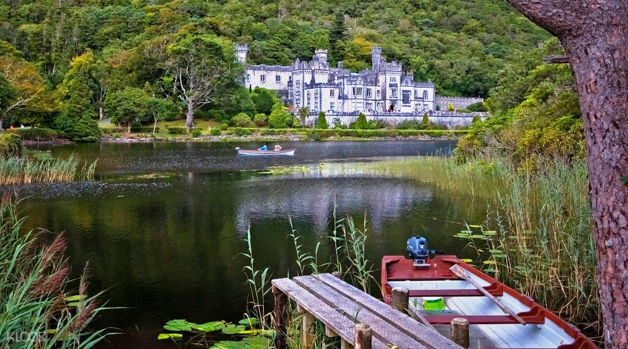 kylemore abbey with boat