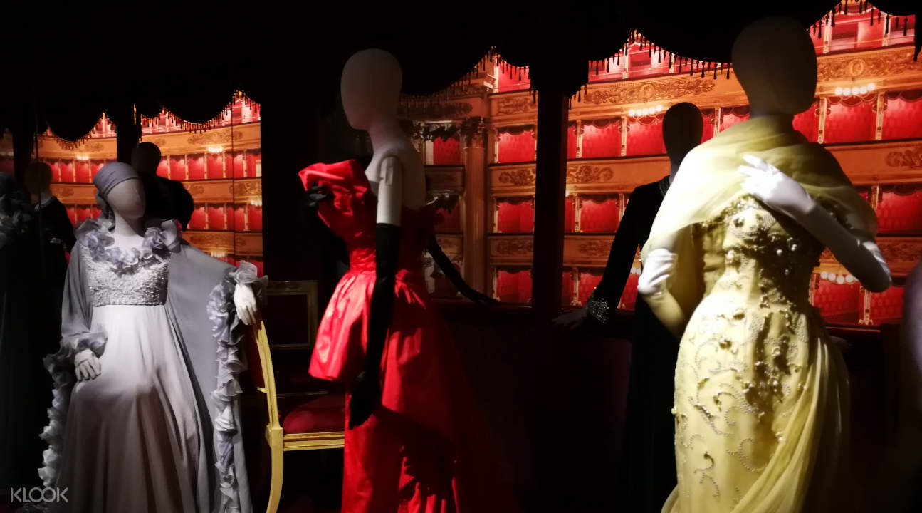 costumes on display inside the Scala Theater Museum