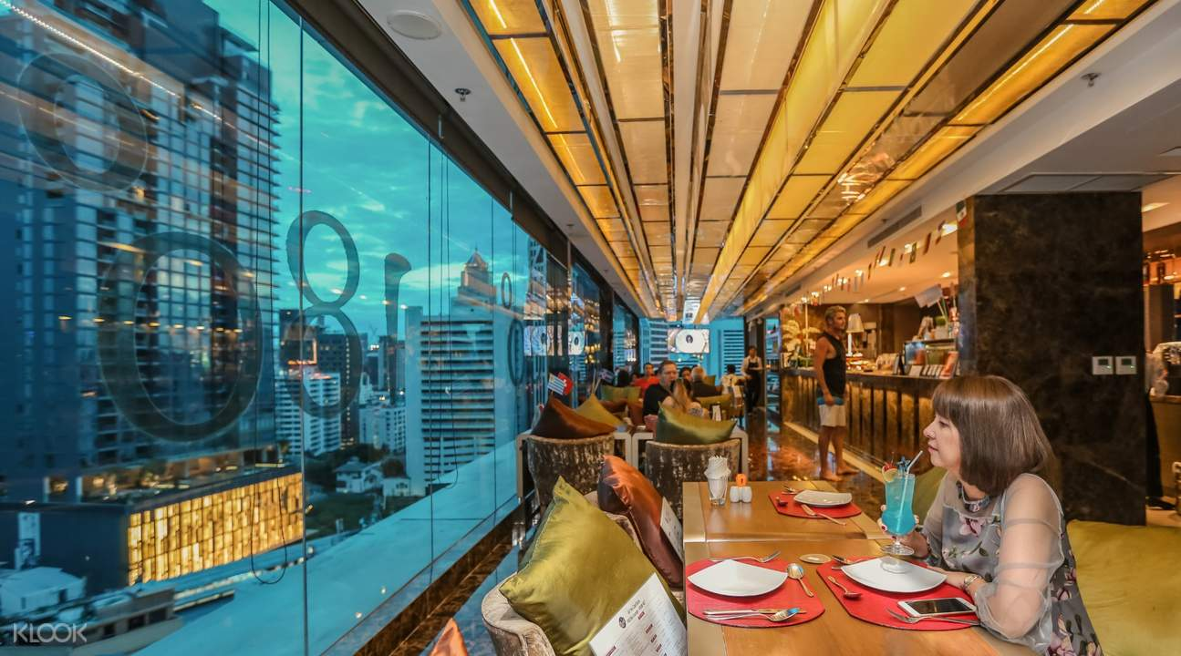 the interiors of the 180° Sky Lounge at Grand Swiss Hotel Bangkok