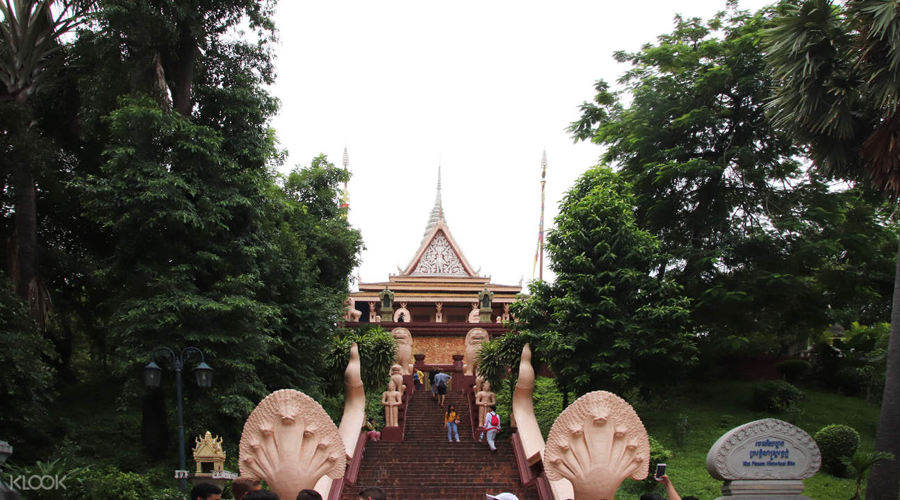 stairs and exterior of wat phnom temple