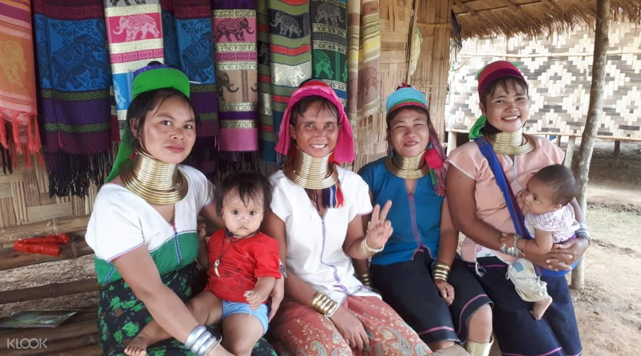 family visiting the karen tribe in the long neck village