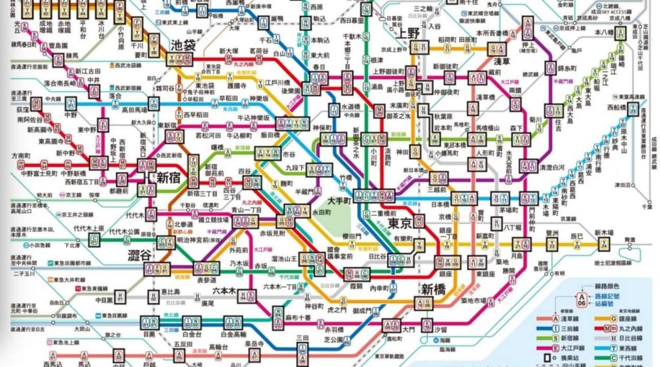 แผนที่เส้นทางรถไฟใต้ดินโตเกียว