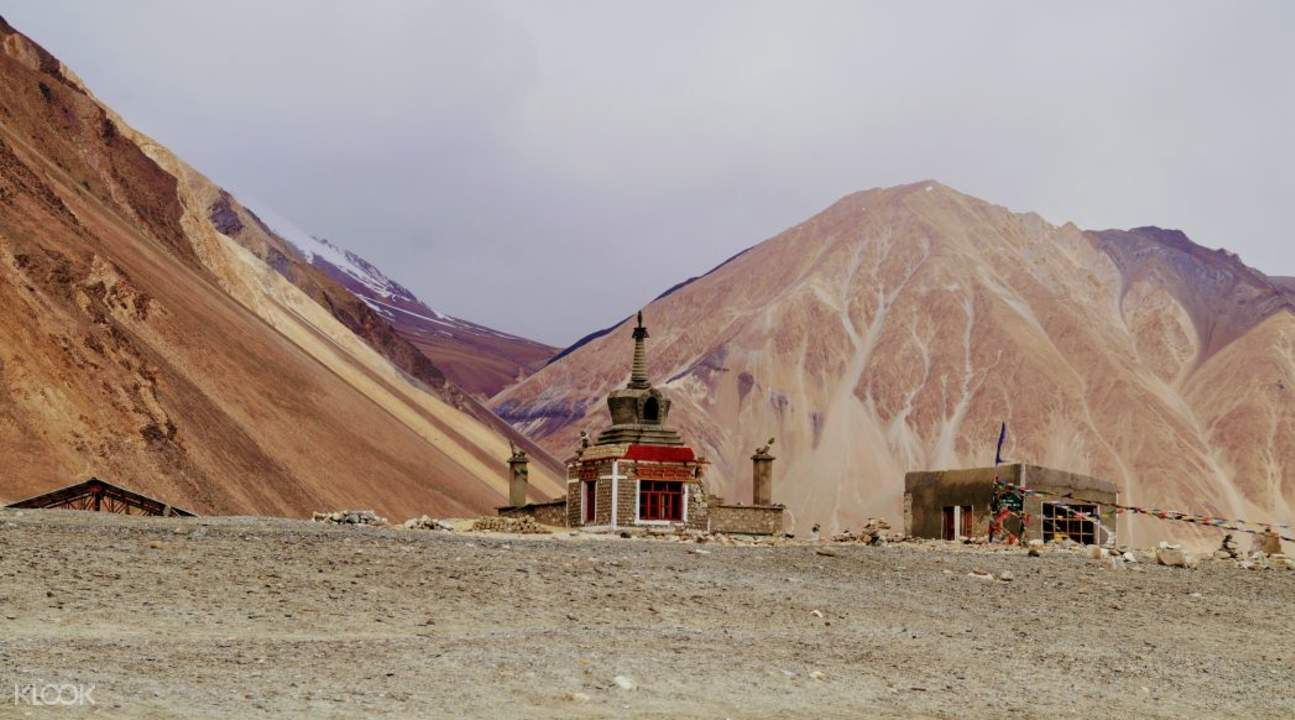 structure and mountains in pangong tso jammu and kashmir