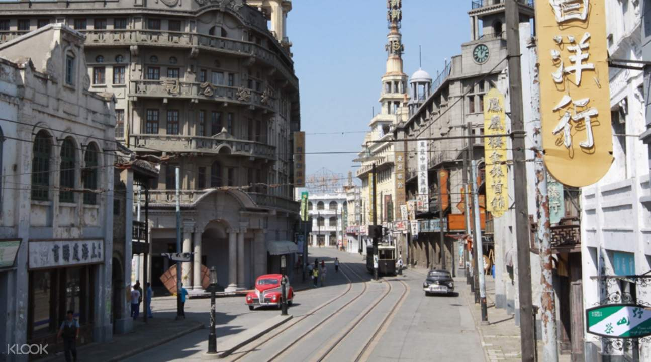 old buildings and old vehicles in a street somewhere in the Shanghai Film Shooting Base