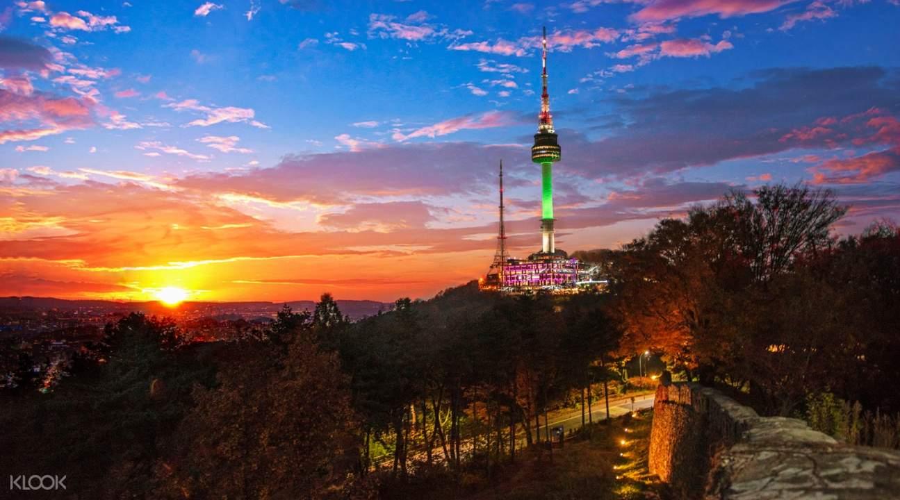 seoul tower during sunrise