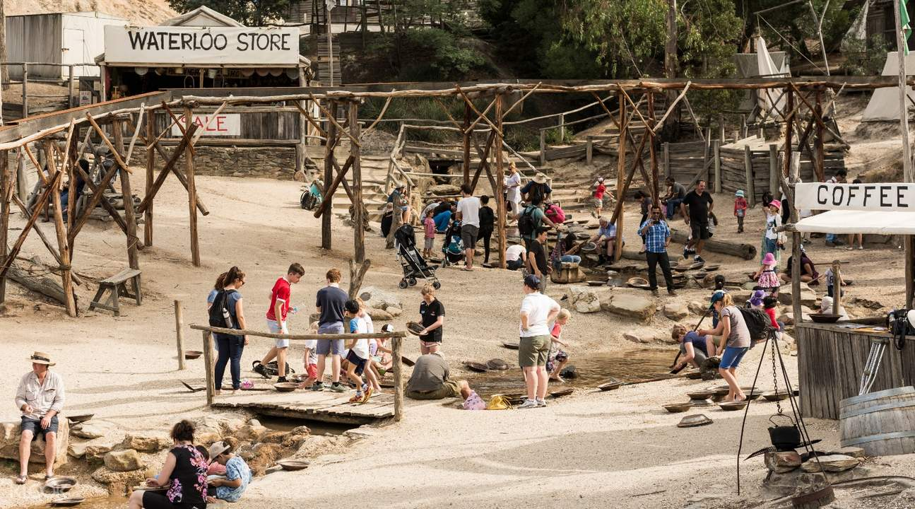 aerial shot of people mining for gold in sovereign hill australia