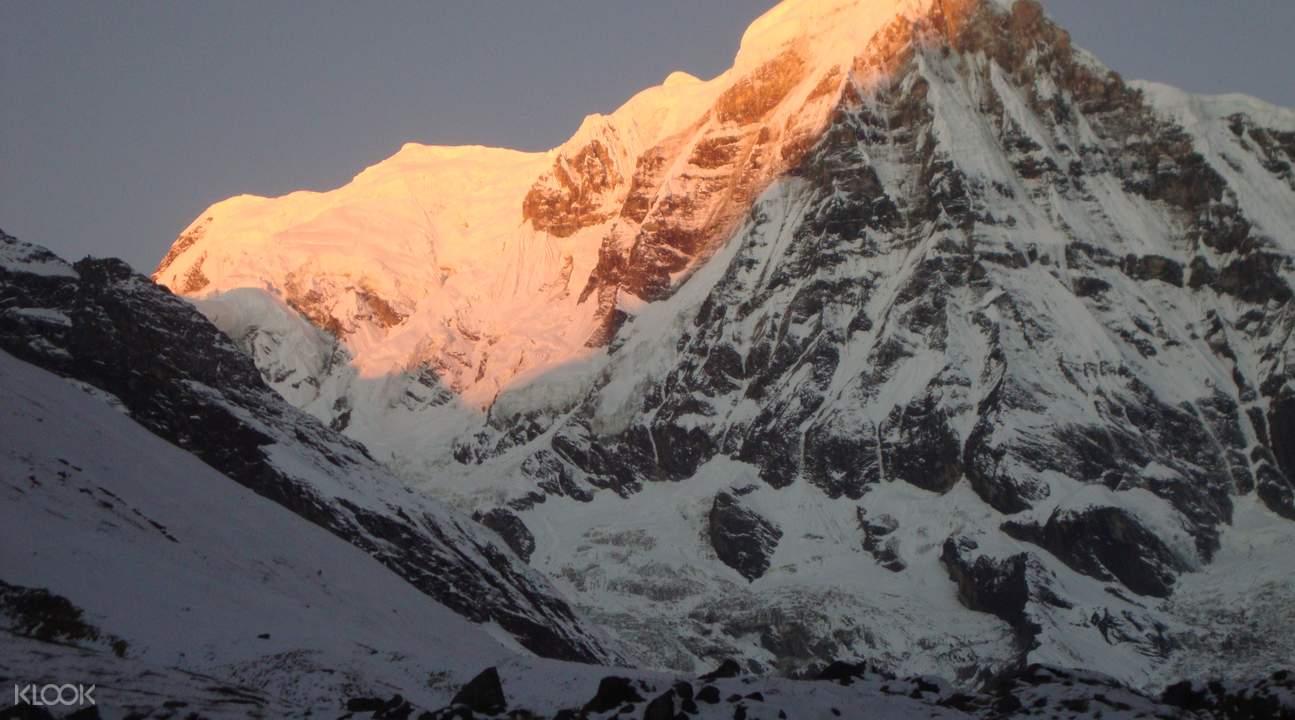 snowy summits on annapurna base camp trek