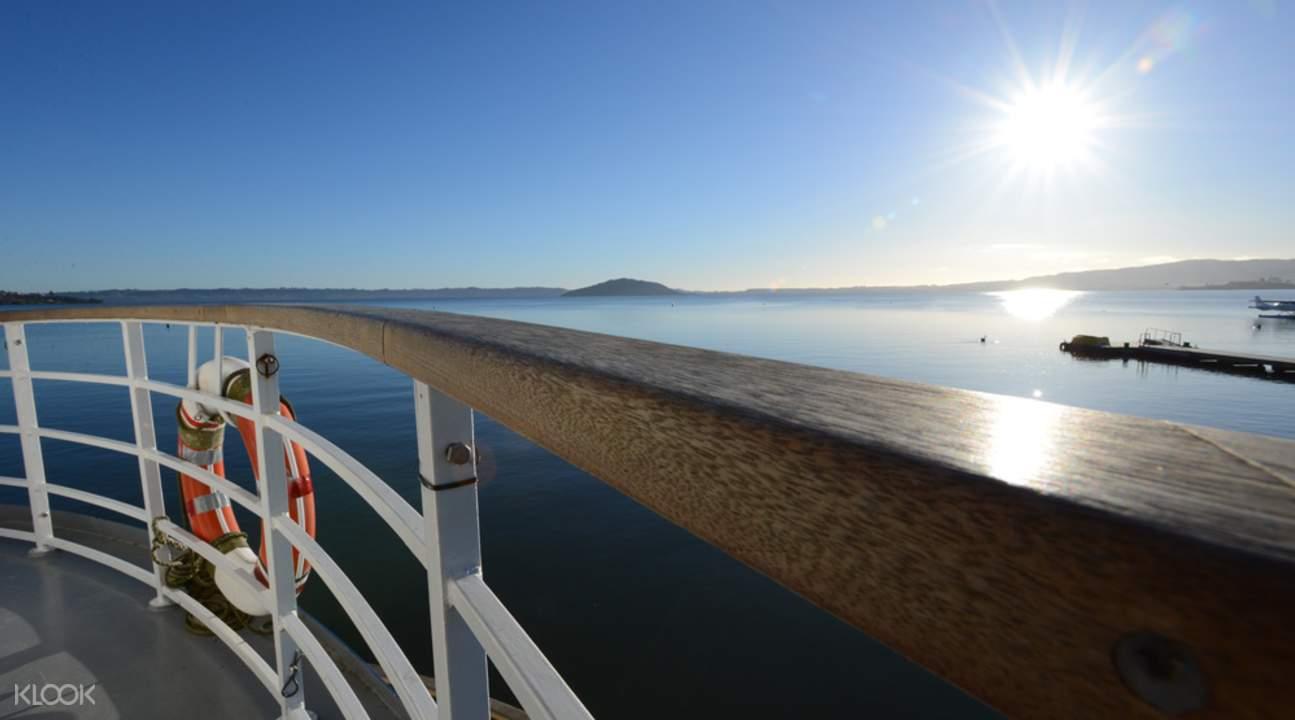 Views of Lake Rotorua from Lakeland Queen Cruise