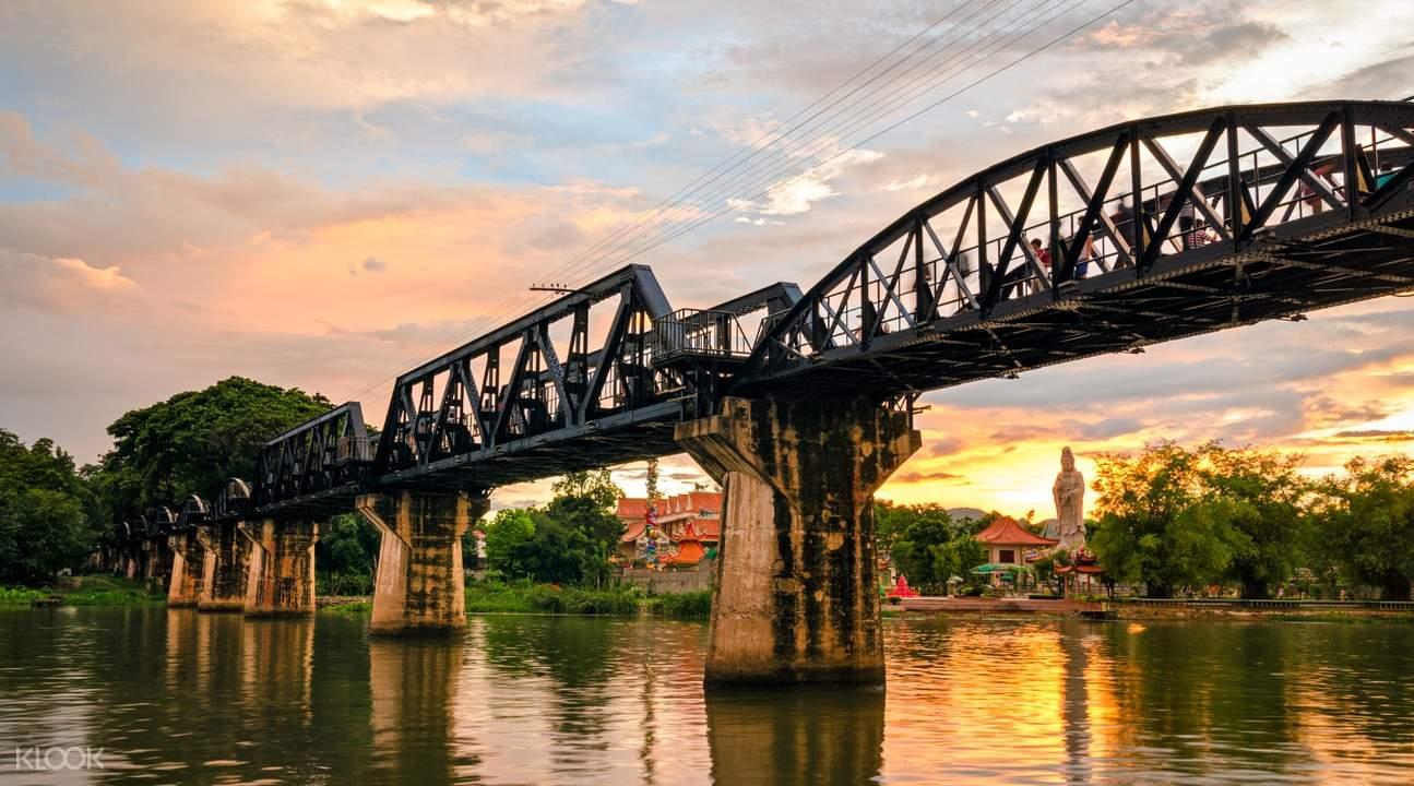 Kachanaburi River Kwai Bridge during sunset