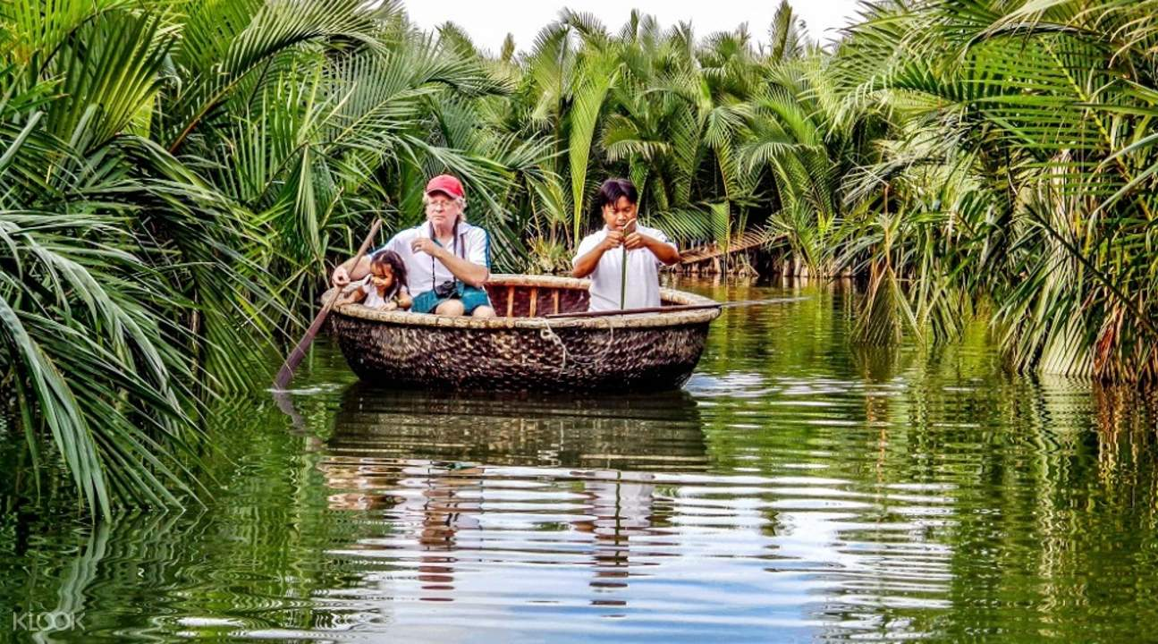 bamboo basket boat coconut forest