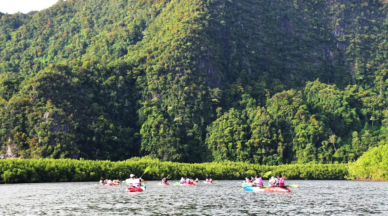 mountain and kayak