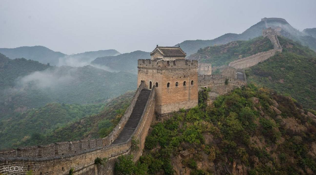 great wall of china with fog