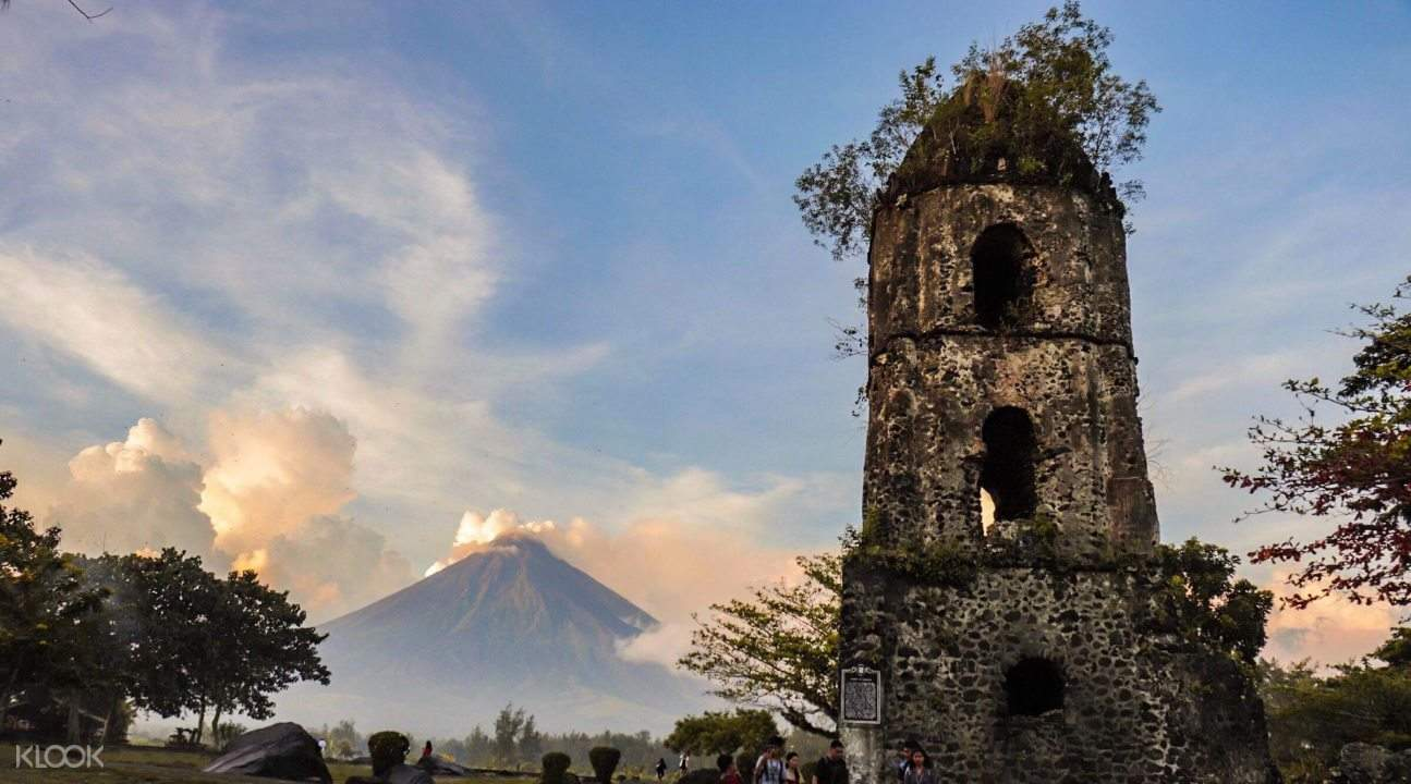 Belfry of Cagsawa ruins with mayon volcano