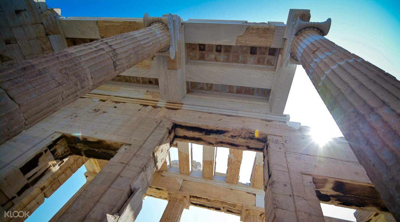 a view of a structure from below somewhere in the Acropolis of Athens