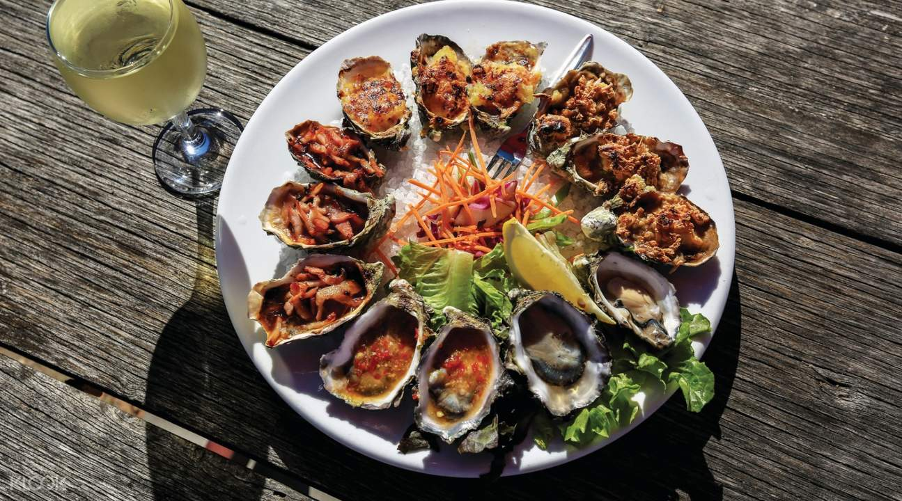 plate of oysters and wine 1802 Oyster Bar