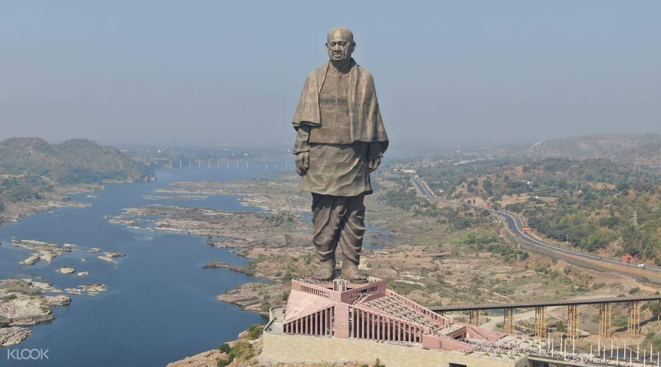 aerial view of statue of unity