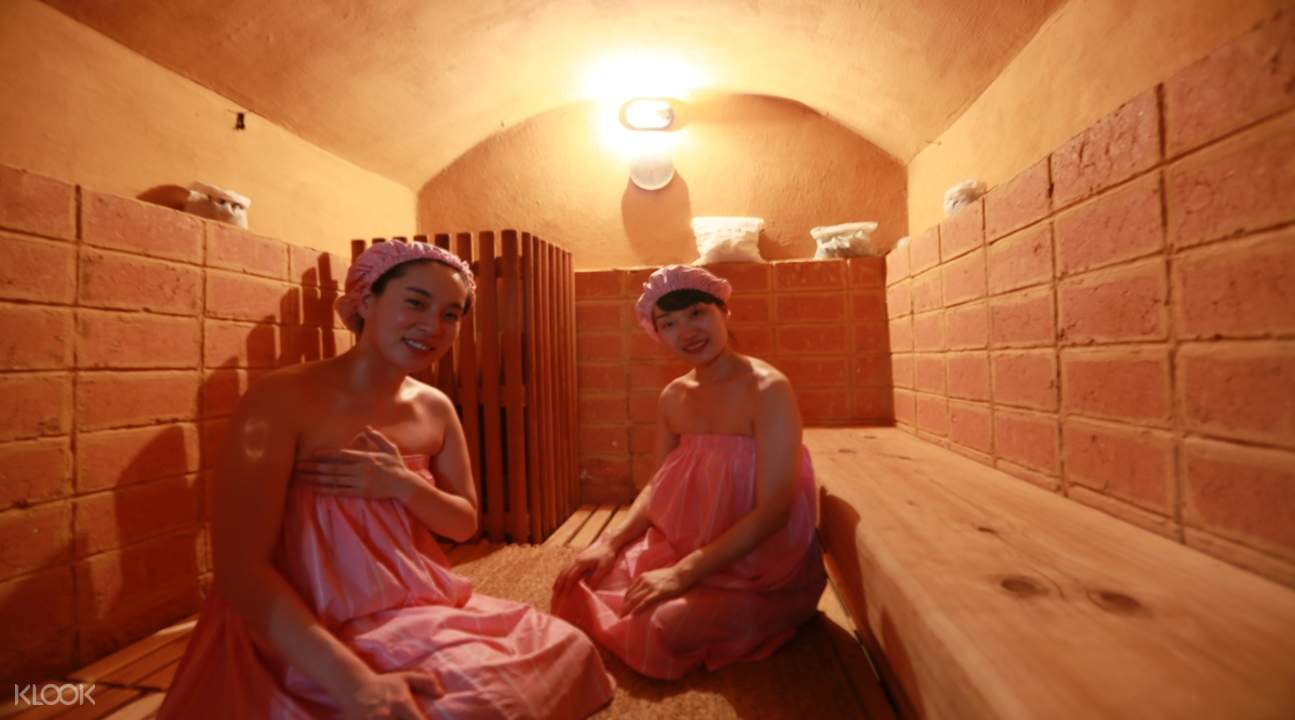 two girls in the myeongdong korean traditional sauna