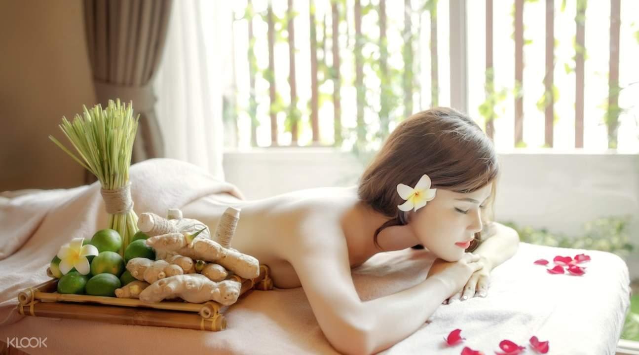 woman lying on spa table