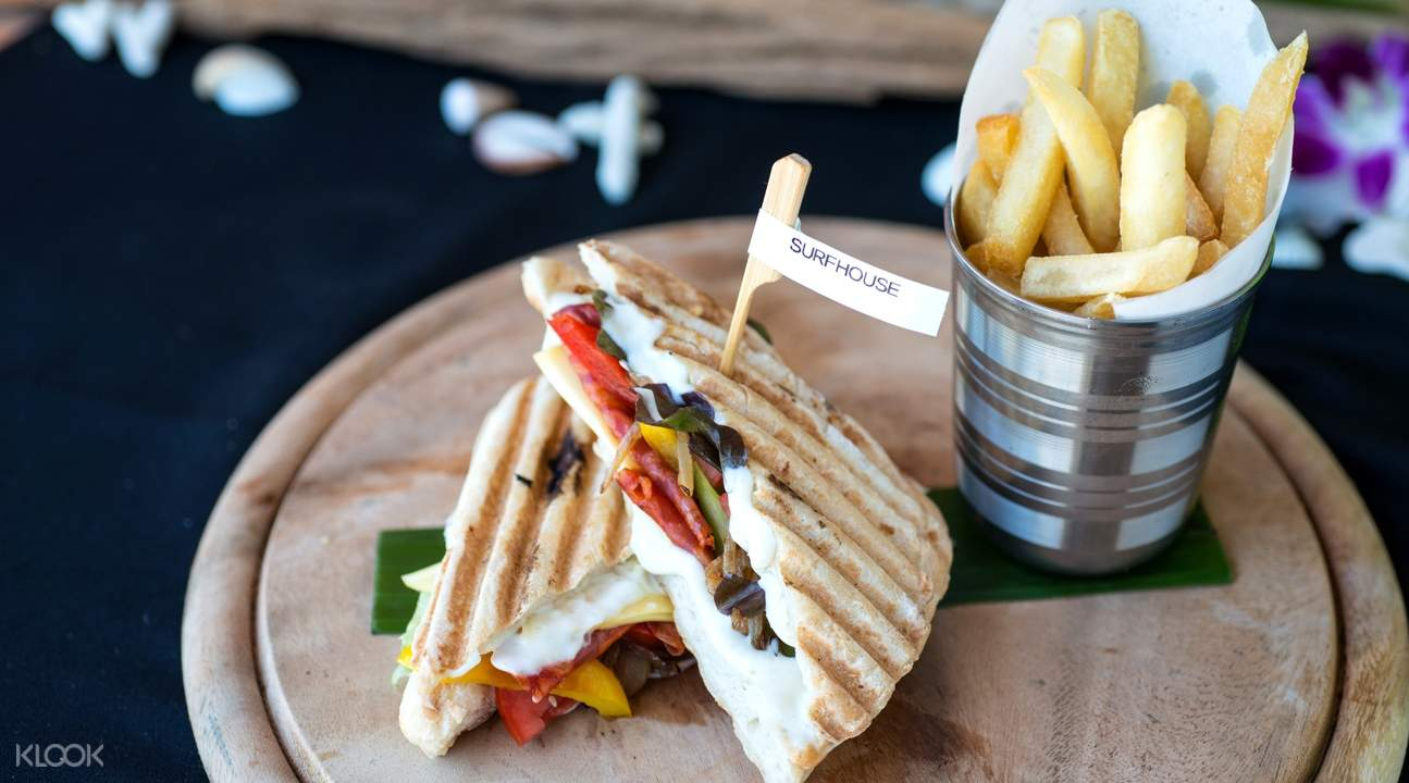 sandwich and fries meal at patong beach phuket