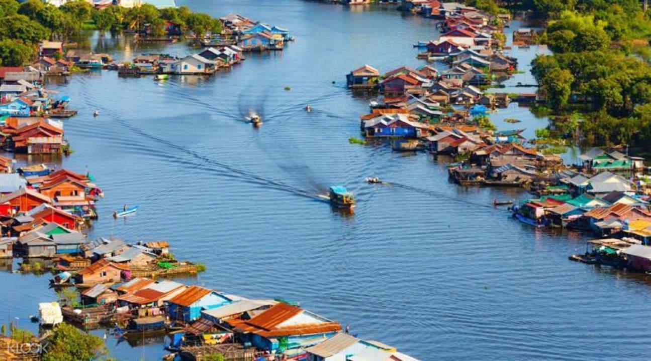 boats in kampong phluk floating village in siem reap