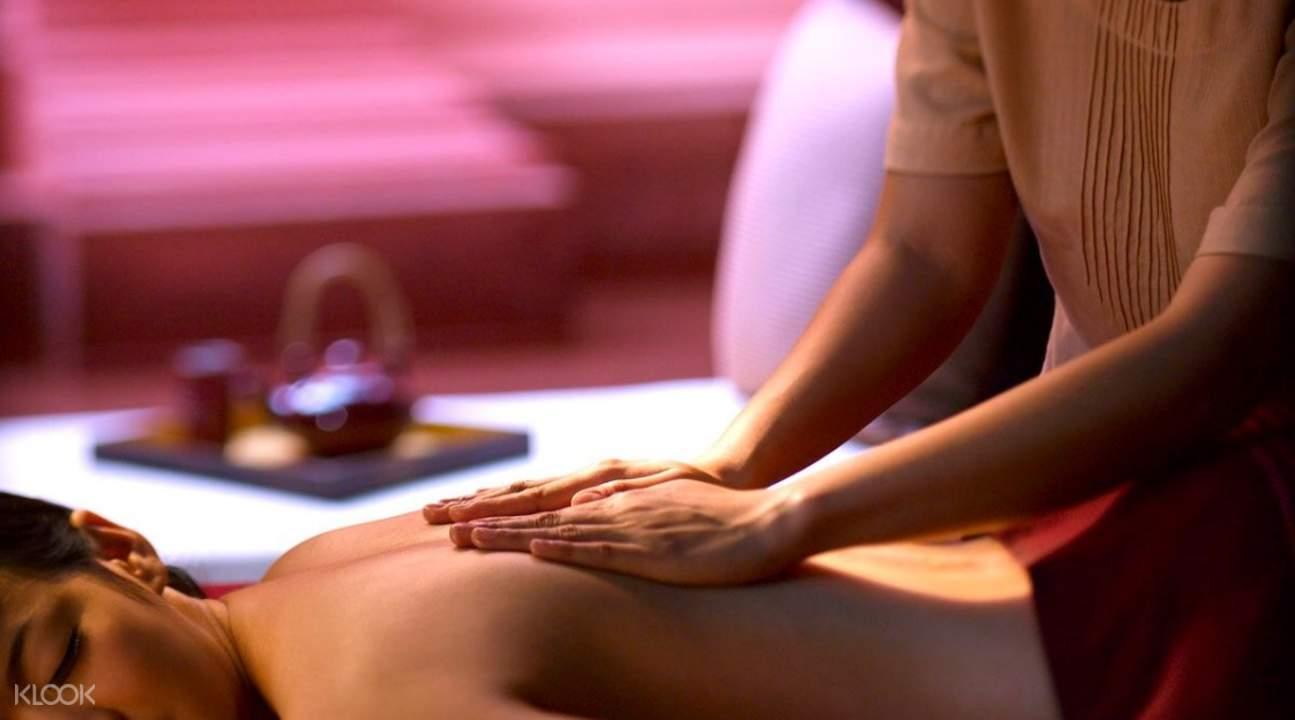 woman getting a massage at the barai spa hyatt regency hua hin