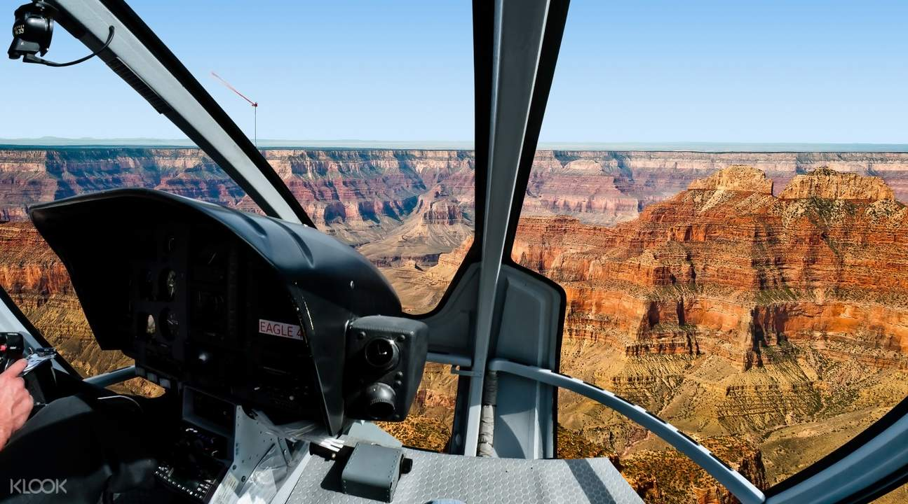 interior of the helicopter overlooking grand canyon