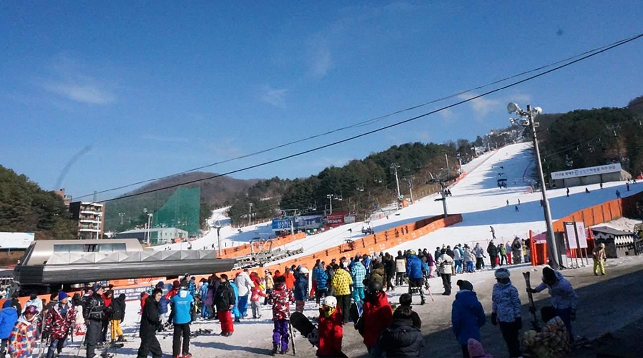 skiiers preparing for their skiing experience at bears town ski resort
