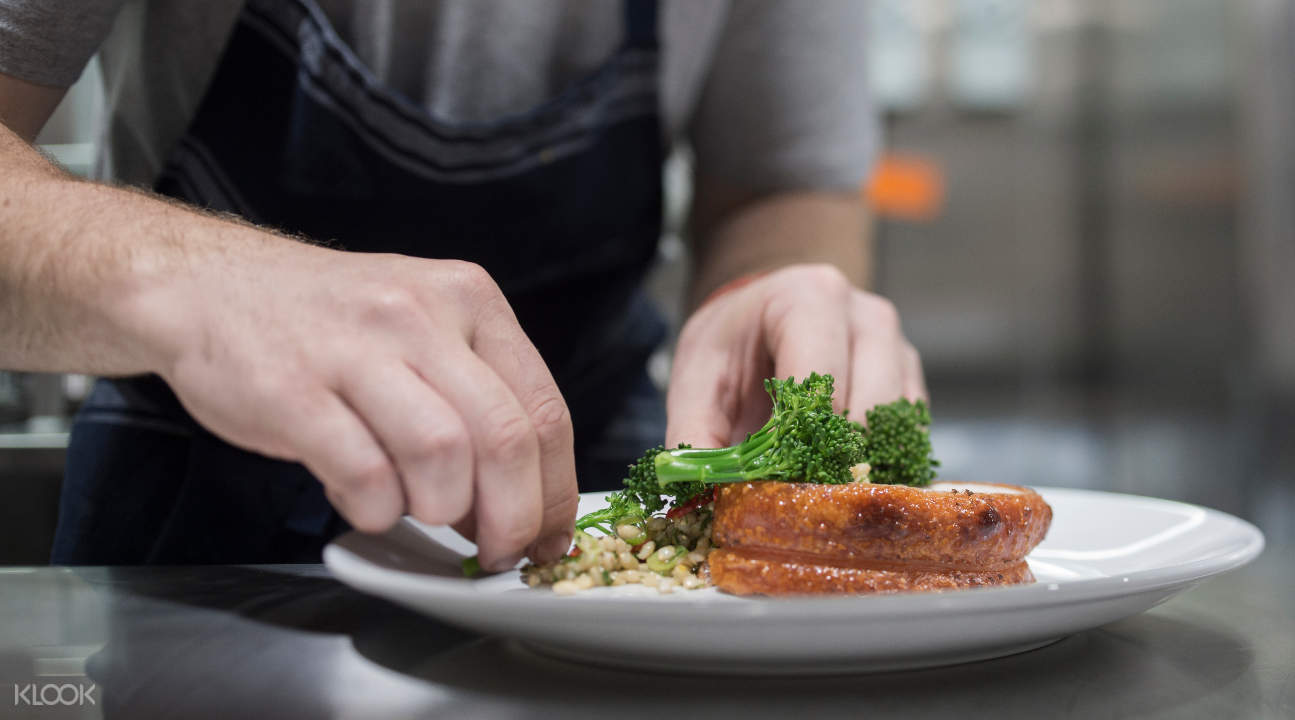 a 2-course gourmet lunch being prepared by a chef