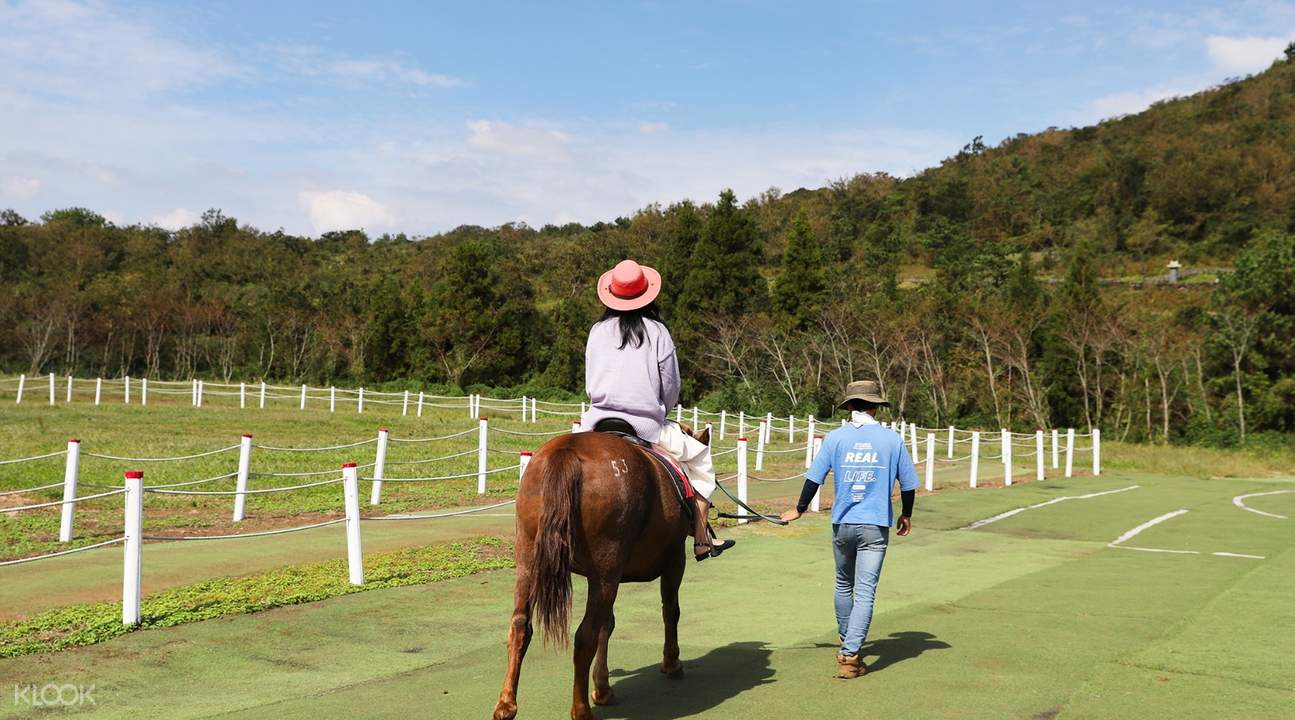 back view of local guide assisting a girl riding a horse