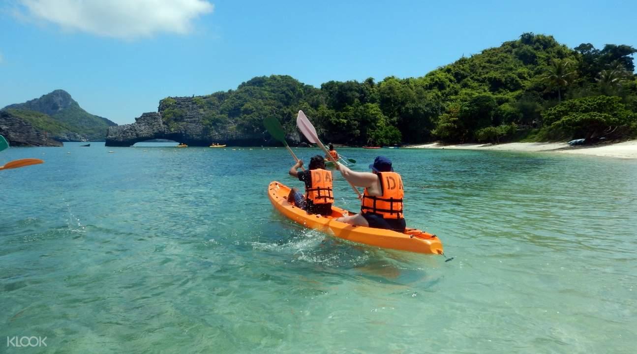 people kayaking at ang thong marine park