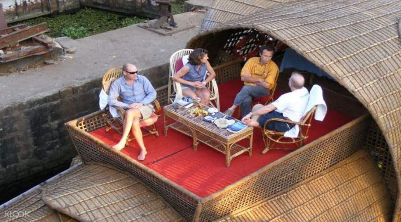 guests lounging on houseboat