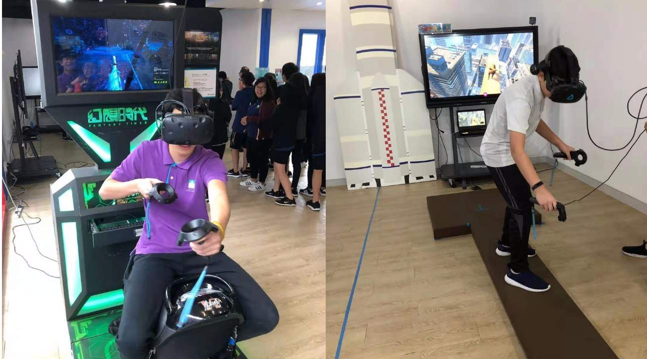Children learning about Steam's VR at STEAM VR Experience Center