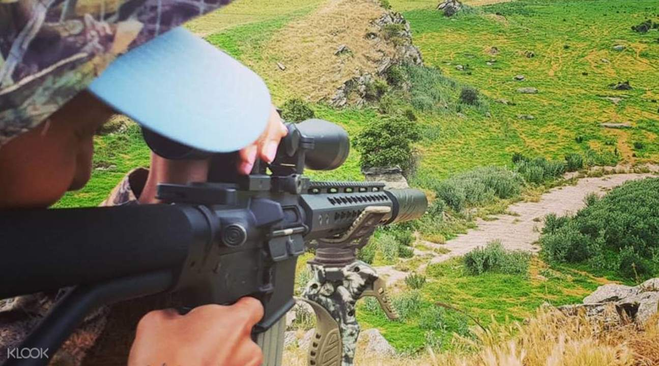 rifle training in the lush fauna of the shooting ranges in queenstown