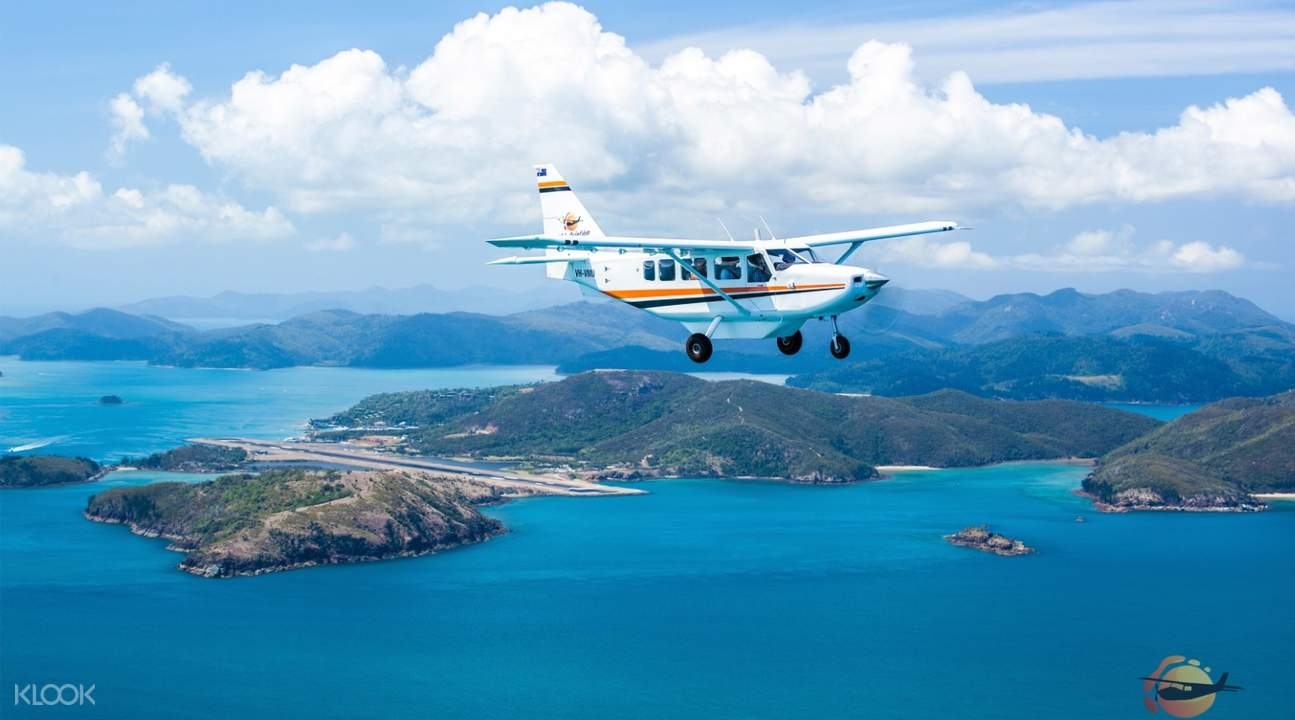 high-wing aircraft over whitsundays