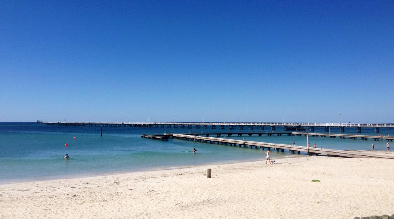sand, boardwalk, and waters of busselton