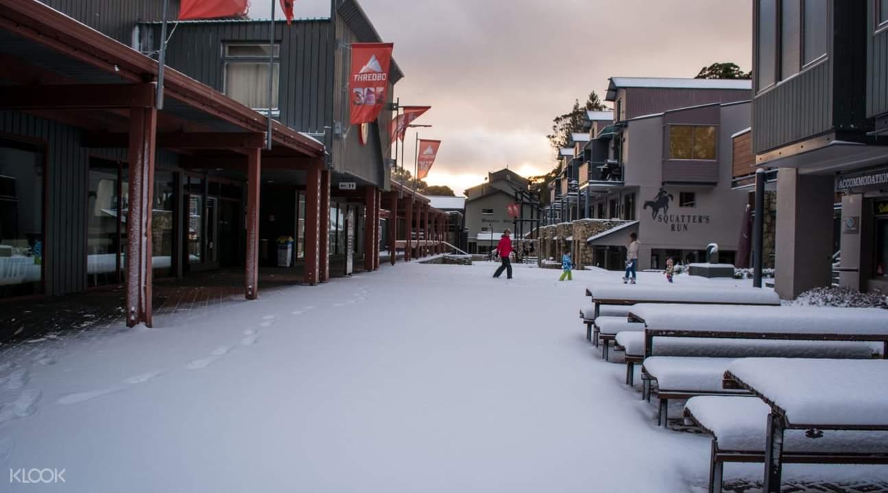 buildings covered in snow in thredbo resort in australia