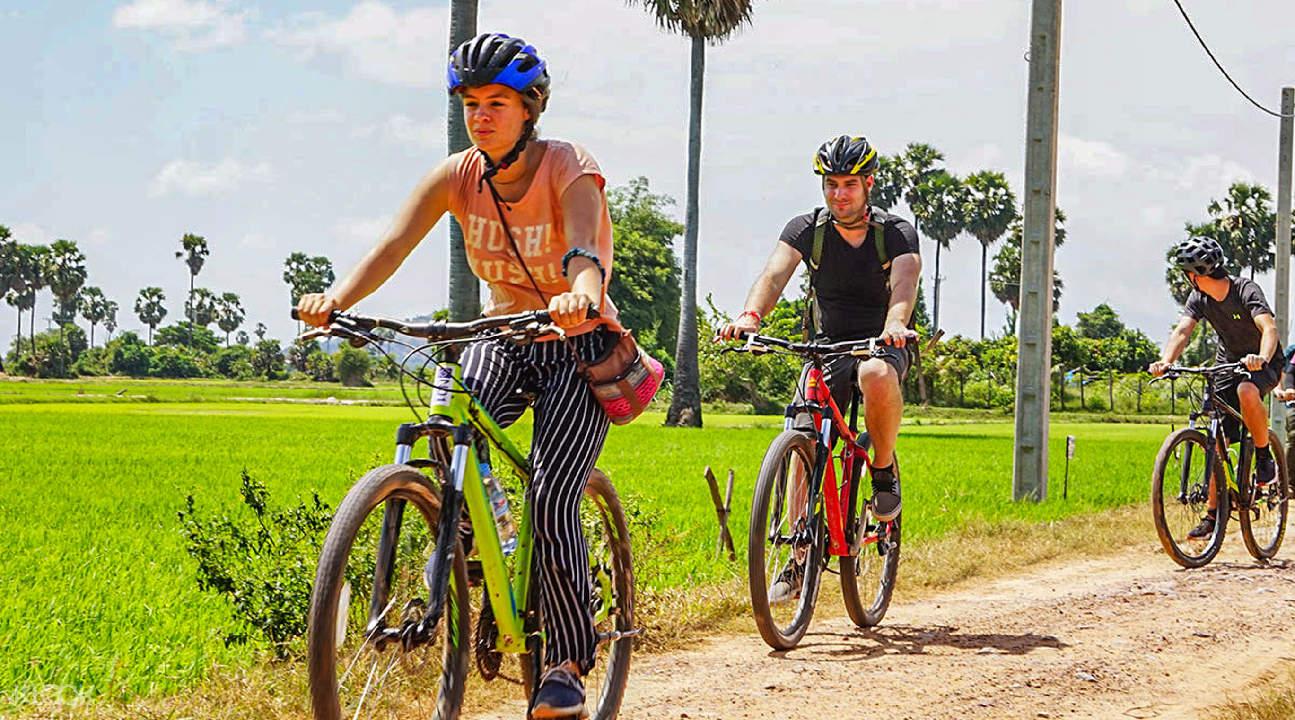 girl biker in siem reap countryside