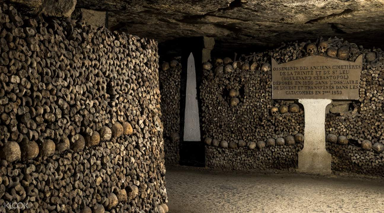 a section of the Catacombs of Paris with a memorial plaque