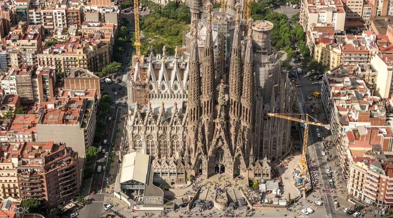 bird's eye view of the sagrada familia