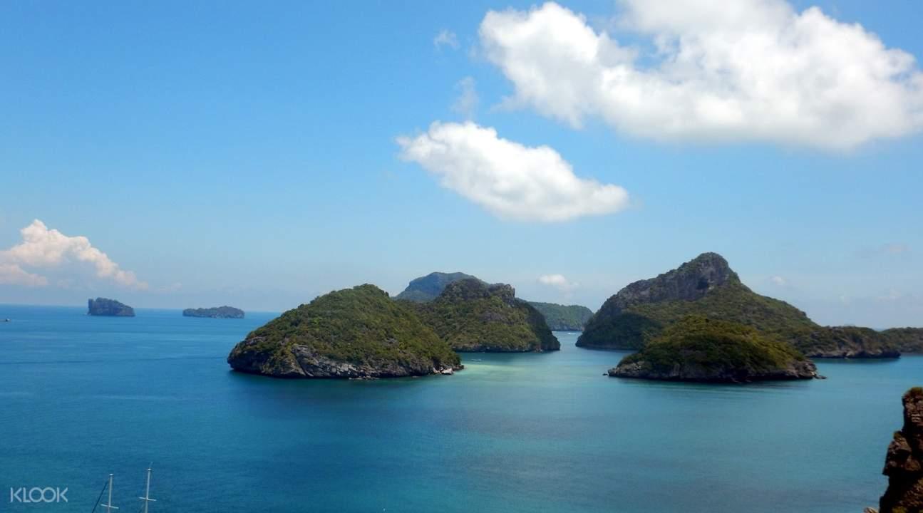 aerial view of islands at Ang Thong Marine Park