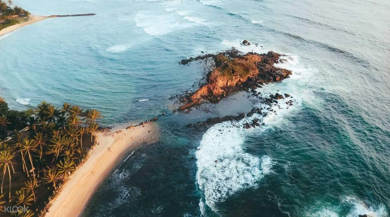 aerial view of mirissa beach in sri lanka