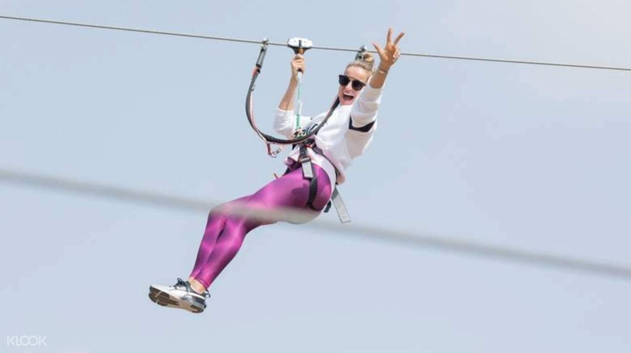 a person on zipline